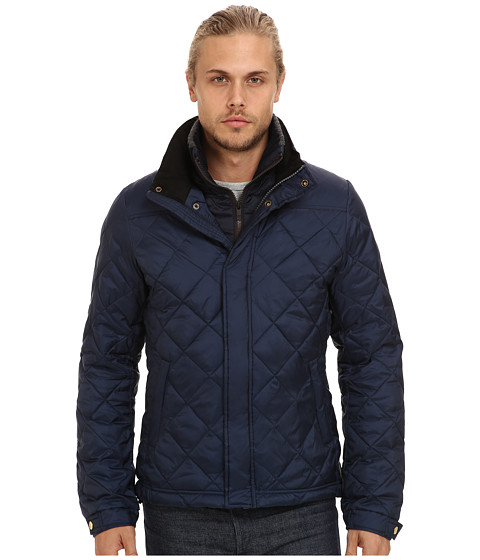 Scotch & Soda - Lightweight Diamond Quilted Jacket with Knit Collar (Navy) Men's Coat