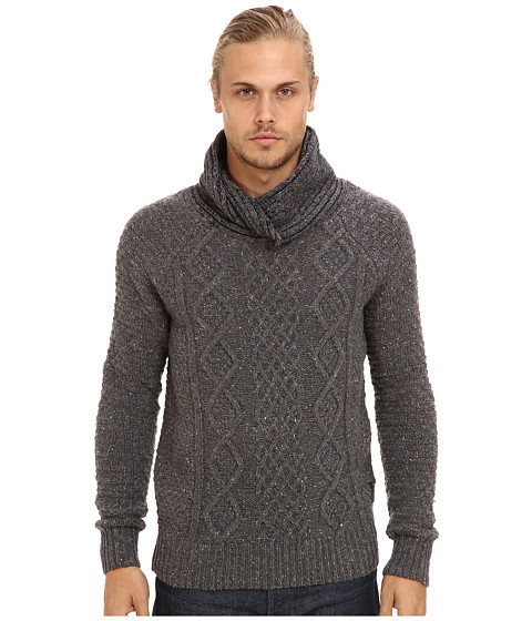 Scotch & Soda - Twisted Shawl Yarn Pullover (Charcoal Melange 1) Men's Long Sleeve Pullover