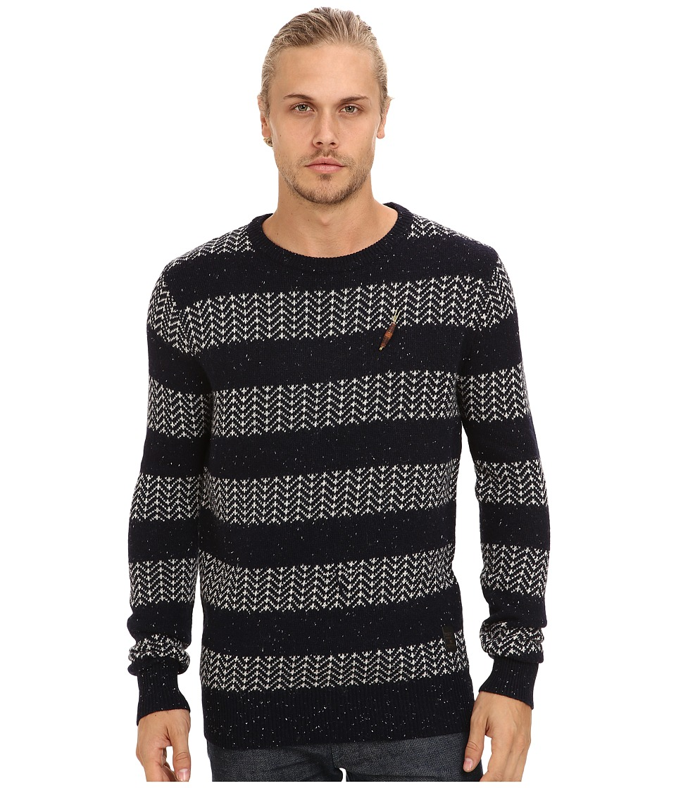 Scotch & Soda - Crew Neck Rocker Knit Pullover (Navy/White) Men's Sweater