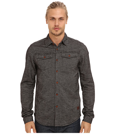 Scotch & Soda - Herringbone Woolen Shirt (Brown) Men's Long Sleeve Button Up