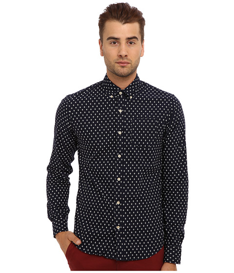 Scotch & Soda - Printed Oxford Shirt with Suspender Detail Sleeves (Navy) Men