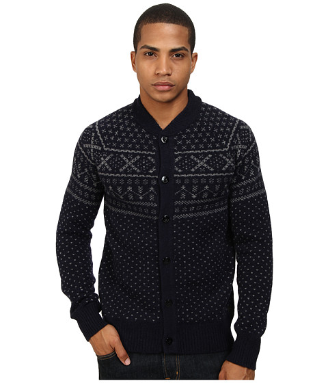 Scotch & Soda - Bomber Shaped Knitted Cardigan (Navy/Grey) Men