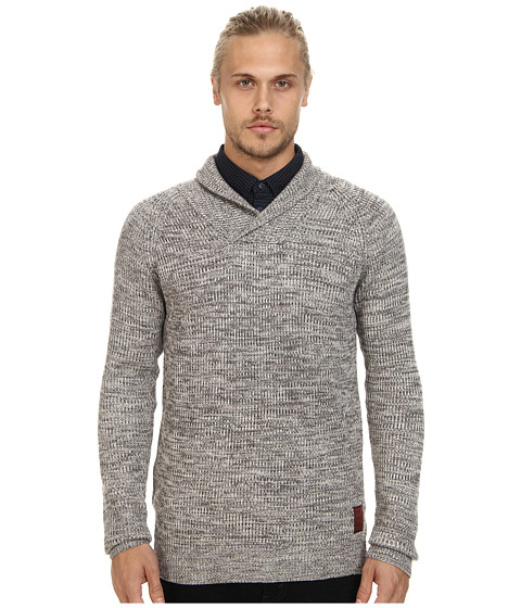 Scotch & Soda - Rib Knit Shawl Sweater with Side Zip Closure (Clay Melange) Men