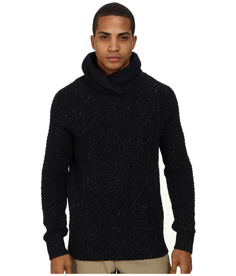 Scotch & Soda - Twisted Shawl Yarn Pullover (Night Melange) Men's Long Sleeve Pullover