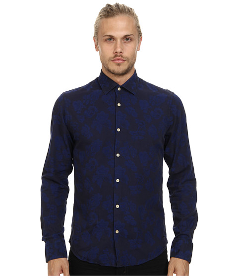 Scotch & Soda - Satin Twill Floral Dress Shirt (Black/Purple) Men's Long Sleeve Button Up