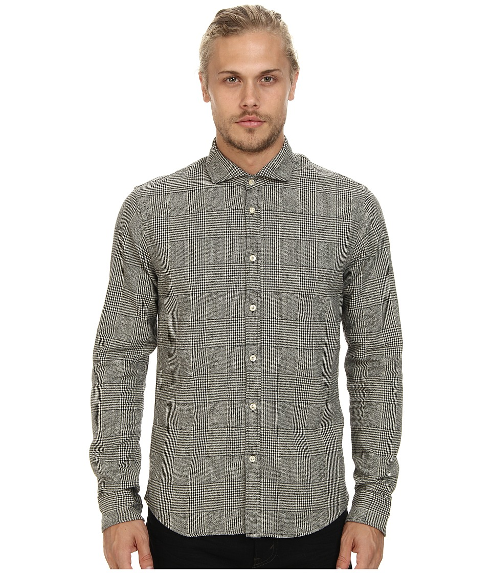 Scotch & Soda - Woolen Button Down Shirt (Black/White) Men's Long Sleeve Button Up