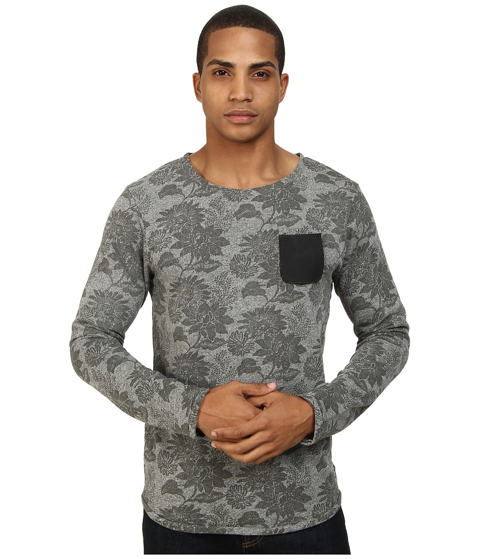 Scotch & Soda - Printed Sweatshirt with Leather Pocket (Grey) Men