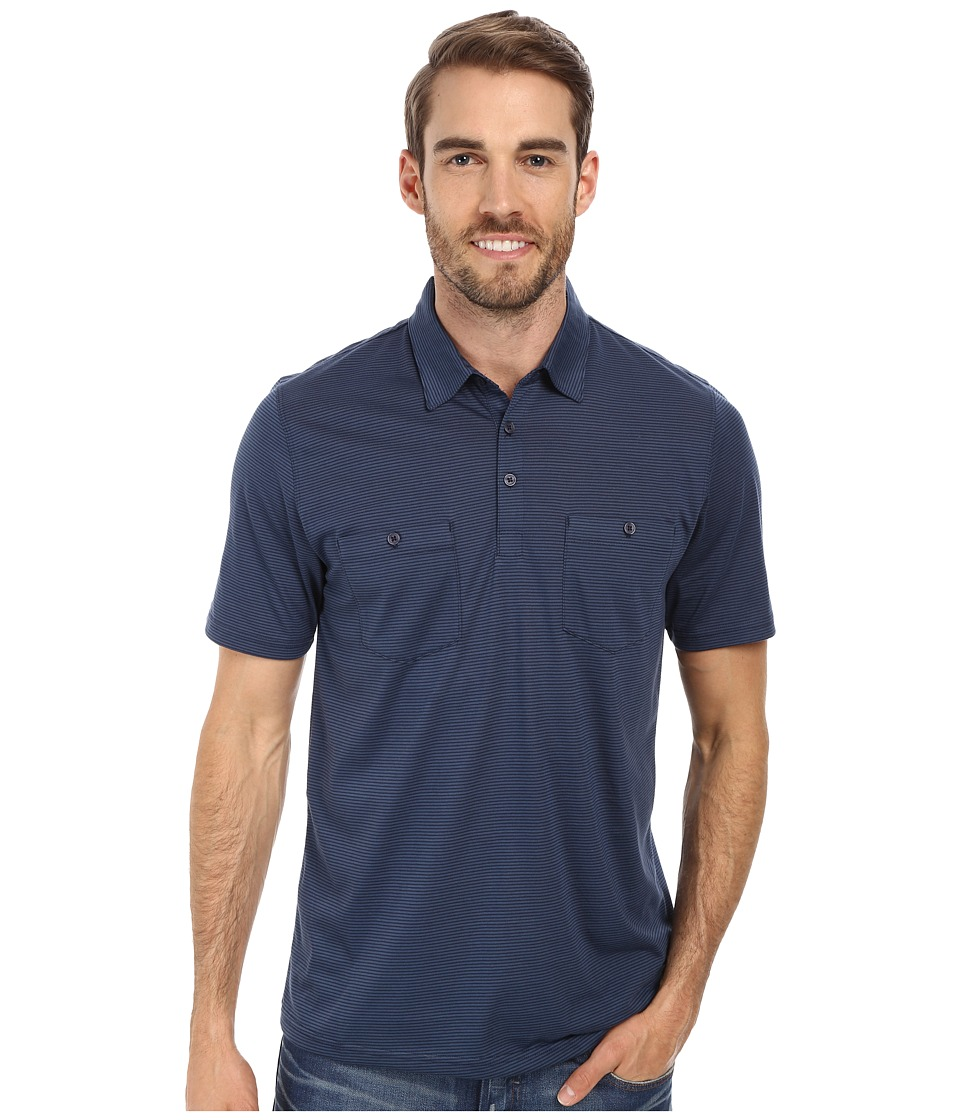 Toad&Co - Onrush S/S Polo Shirt (Deep Navy Stripe) Men's Short Sleeve Knit