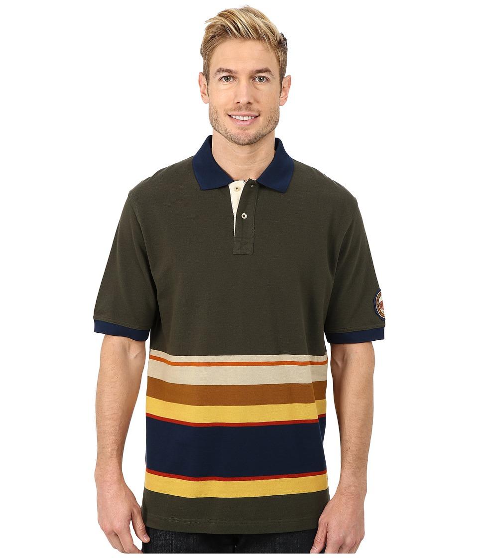 Pendleton - S/S National Park Polo (Olive Badlands Stripe) Men's Short Sleeve Pullover