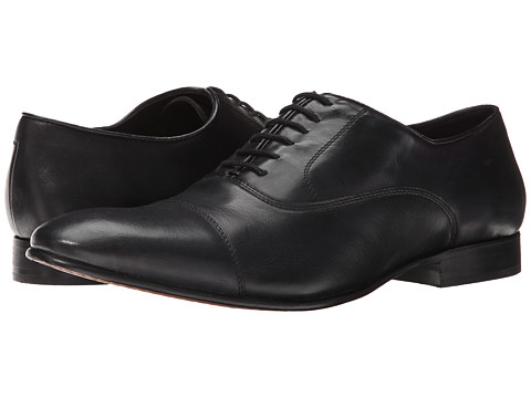 Fitzwell - Cap (Black Tequila Leather) Men's Dress Flat Shoes