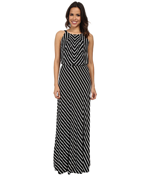 Marc New York by Andrew Marc - Halter Neck Blouson Maxi Dress MD4FM572 (Black/White) Women