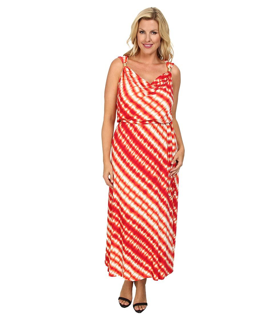 Calvin Klein Plus - Plus Size Cowl Maxi w/ Hardware (Watermelon/Latte) Women's Dress