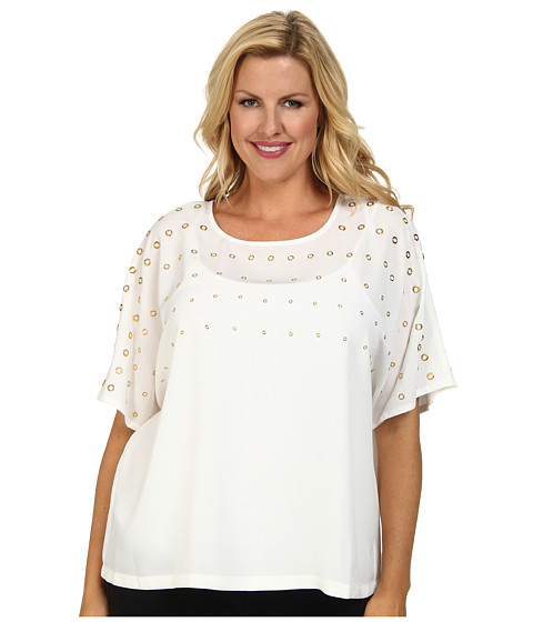 Calvin Klein Plus - Plus Size Short Sleeve Top w/ Heatfix (Winter) Women's Blouse