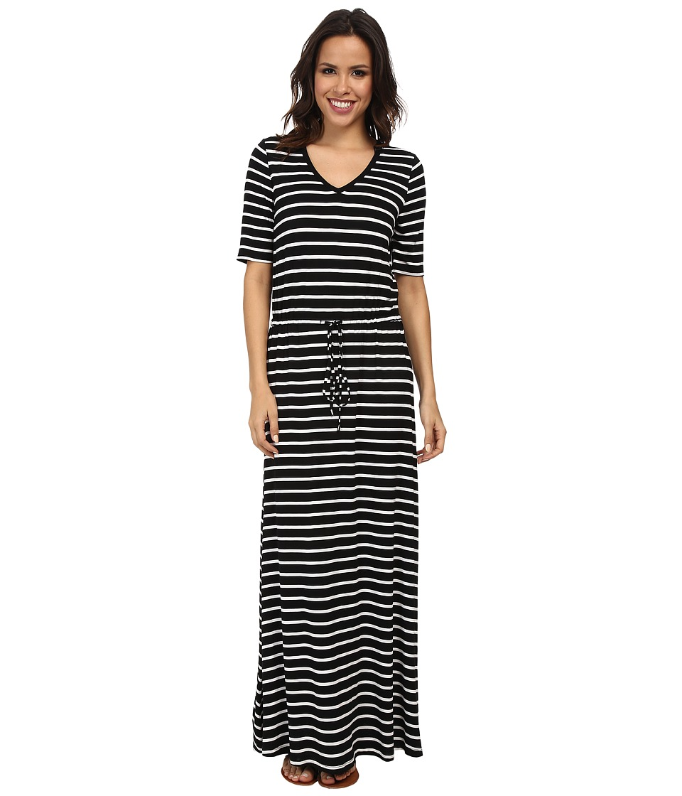 Marc New York by Andrew Marc - S/S V-Neck Stripe Maxi Dress MD4FM573 (Black/White) Women