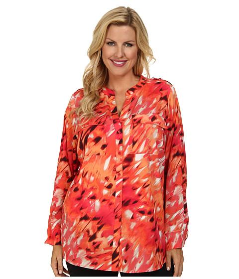 Calvin Klein Plus - Plus Size Print Crew Neck Roll Sleeve (Floral Dot) Women's Blouse