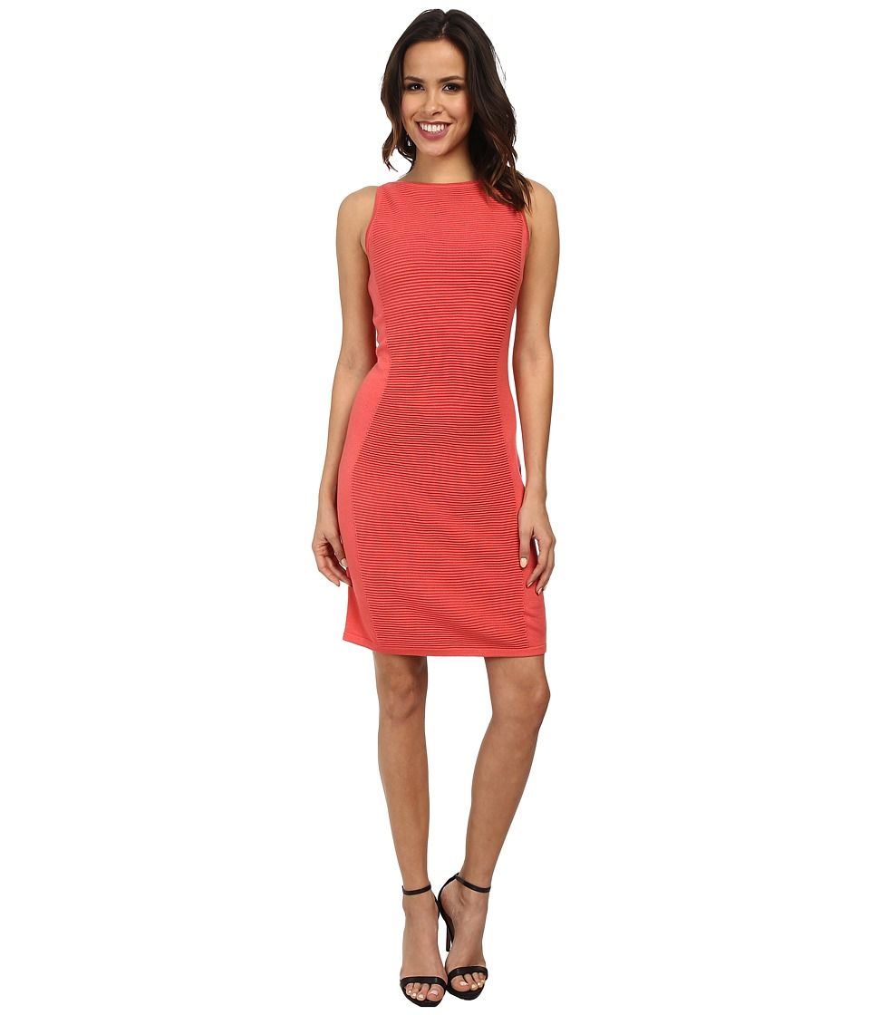 Marc New York by Andrew Marc - Sleeveless Textured Sheath Sweater Dress MD4WM578 (Coral) Women