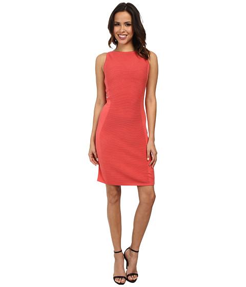 Marc New York by Andrew Marc - Sleeveless Textured Sheath Sweater Dress MD4WM578 (Coral) Women's Dress