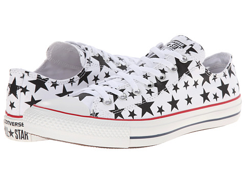 Converse - Chuck Taylor All Star Multi Star Print Ox (White/Black/White) Shoes