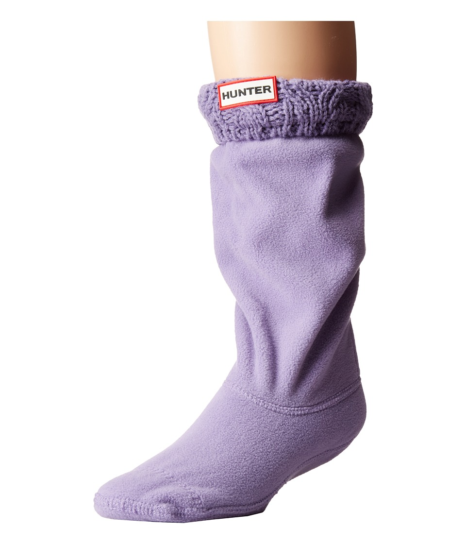 Hunter - Dual Cable Knit Boot Socks (Toddler/Little Kid/Big Kid) (Dusty Lavender) Crew Cut Socks Shoes