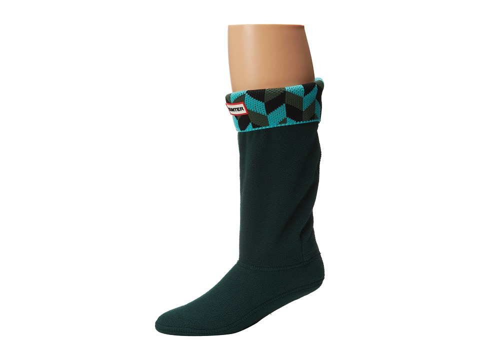 Hunter Kids - Geometric Dazzle Boot Sock (Toddler/Little Kid/Big Kid) (Tourmarline Green/Dark Malachite) Kids Shoes