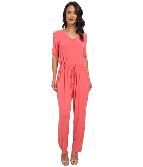 Marc New York by Andrew Marc - S/S V-Neck Blouson Peg Leg Jumpsuit MD4AM601 (Coral) Women's Jumpsuit & Rompers One Piece