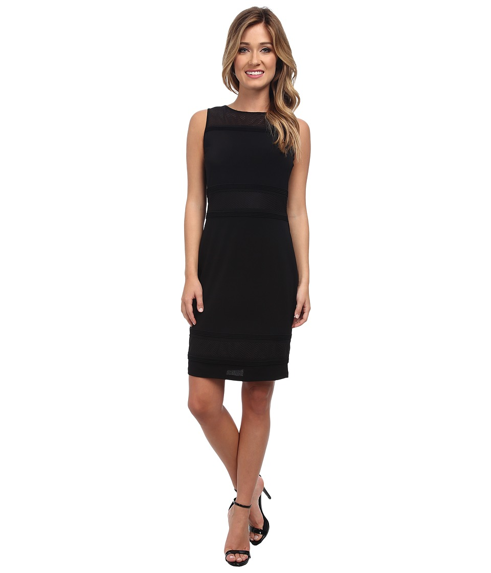 Marc New York by Andrew Marc - S/L Mesh Yoke Shift Dress Stretch Crepe MD4AM564 (Black) Women's Dress