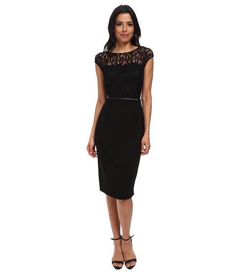 Marc New York by Andrew Marc - Cap Sleeve Lace Bodice Crepe Skirt MD4LK485 (Black) Women