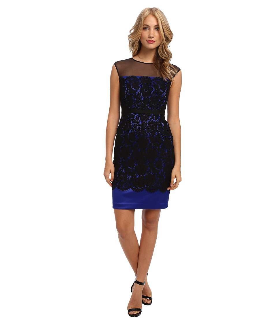 Eliza J - Sleeveless Fitted Shift w/ Lace Overlay (Black/Cobalt) Women's Dress