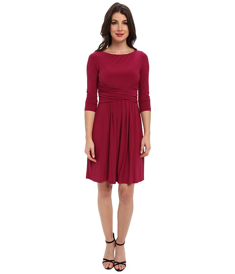 Eliza J - 3/4 Sleeve Fit and Flare w/ Rouched Waist (Magenta) Women's Dress