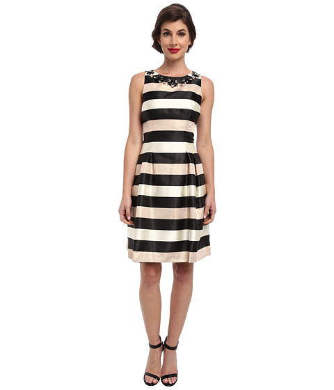 Eliza J - Sleeveless Stripe Fit and Flare w/ Beaded Neckline (Black/White/Gold) Women
