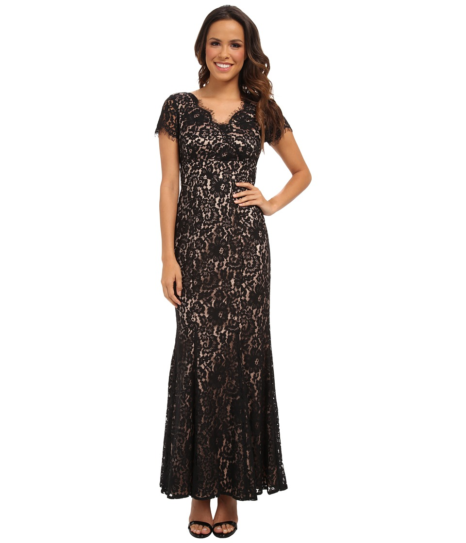 Eliza J - Cap Sleeve V-Neck w/ Inset Waist and Floor Length Skirt (Black) Women's Dress