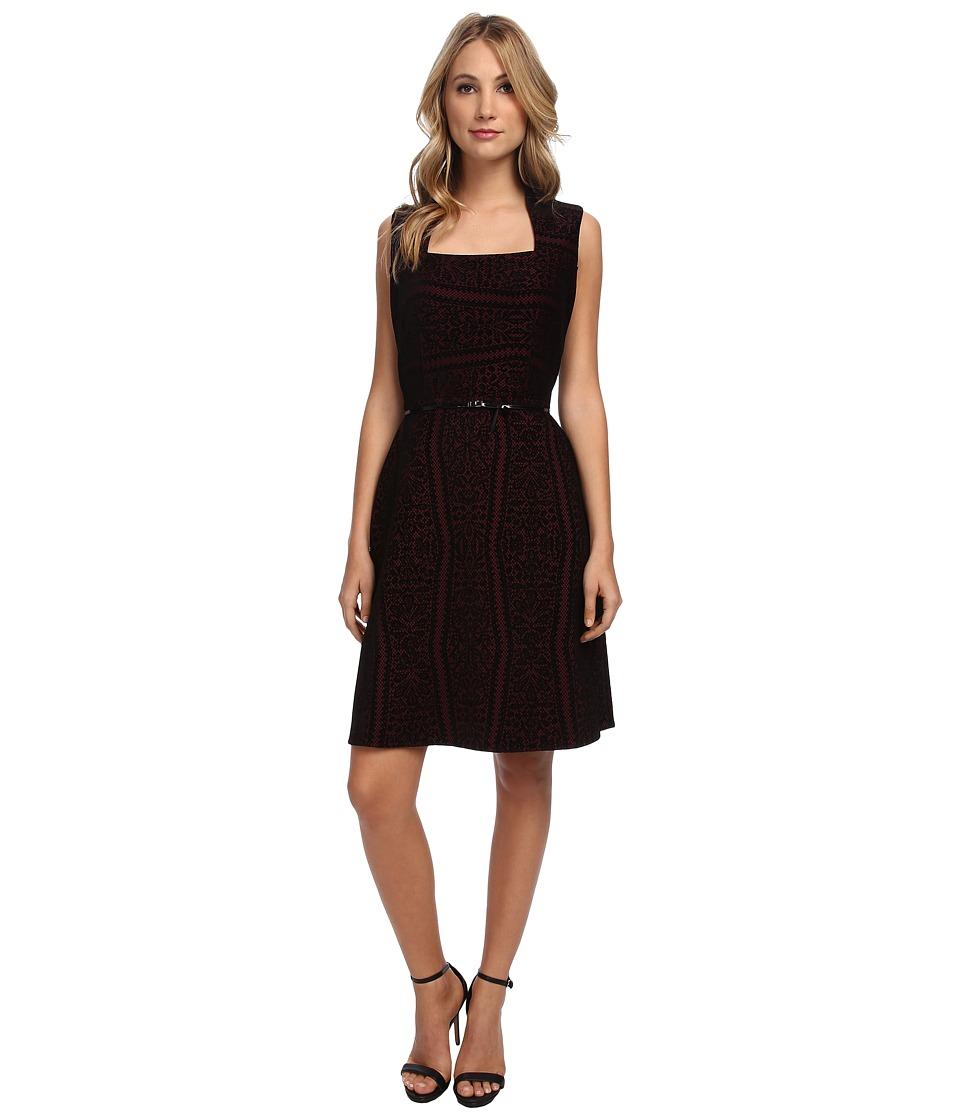 Marc New York by Andrew Marc - Envelope Neck Flocked Velvet Aline Dress MD4KK511 (Garnet) Women's Dress