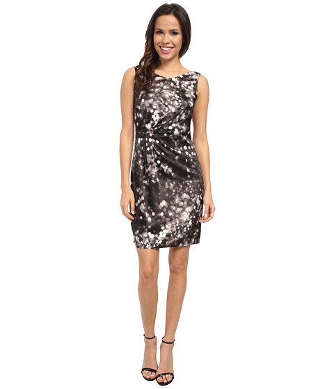 Marc New York by Andrew Marc - S/L V-Neck Side Drape Print Dress MD4SN504 (Multi) Women