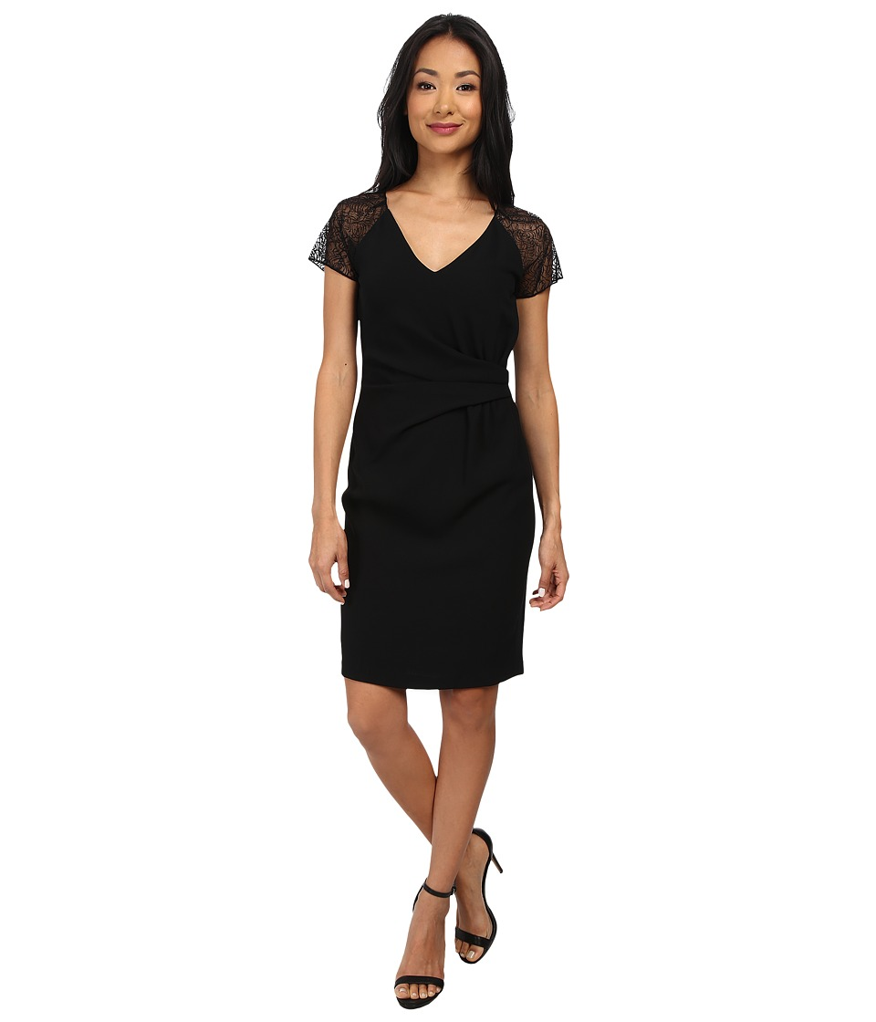 Marc New York by Andrew Marc - Lace Raglin Sleeve Side Drape Dress MD4RN519 (Black) Women's Dress