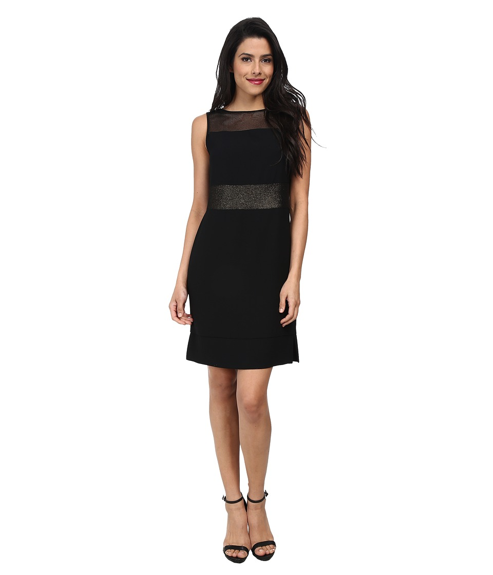 Marc New York by Andrew Marc - Sheer Mesh Yoke Chemise Dress MD4VN502 (Black) Women's Dress