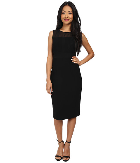 Marc New York by Andrew Marc - Sheer Yoke Mid Length Shift Dress MD4RN494 (Black) Women