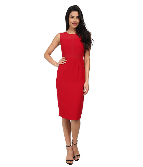 Marc New York by Andrew Marc - Sheer Yoke Mid Length Shift Dress MD4RN494 (Crimson) Women's Dress