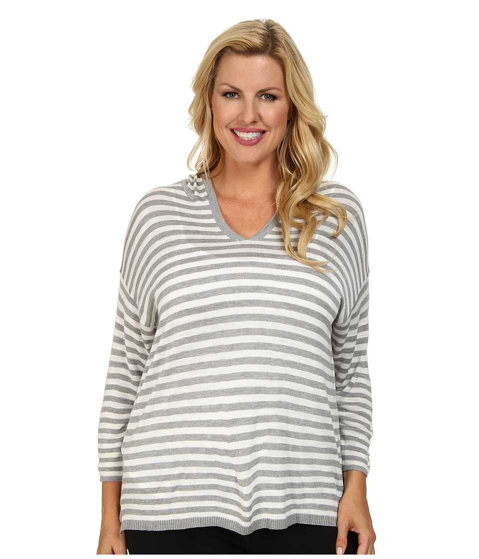 Calvin Klein Plus - Plus Size Striped Hood Sweater (Heather Grey Stripe) Women