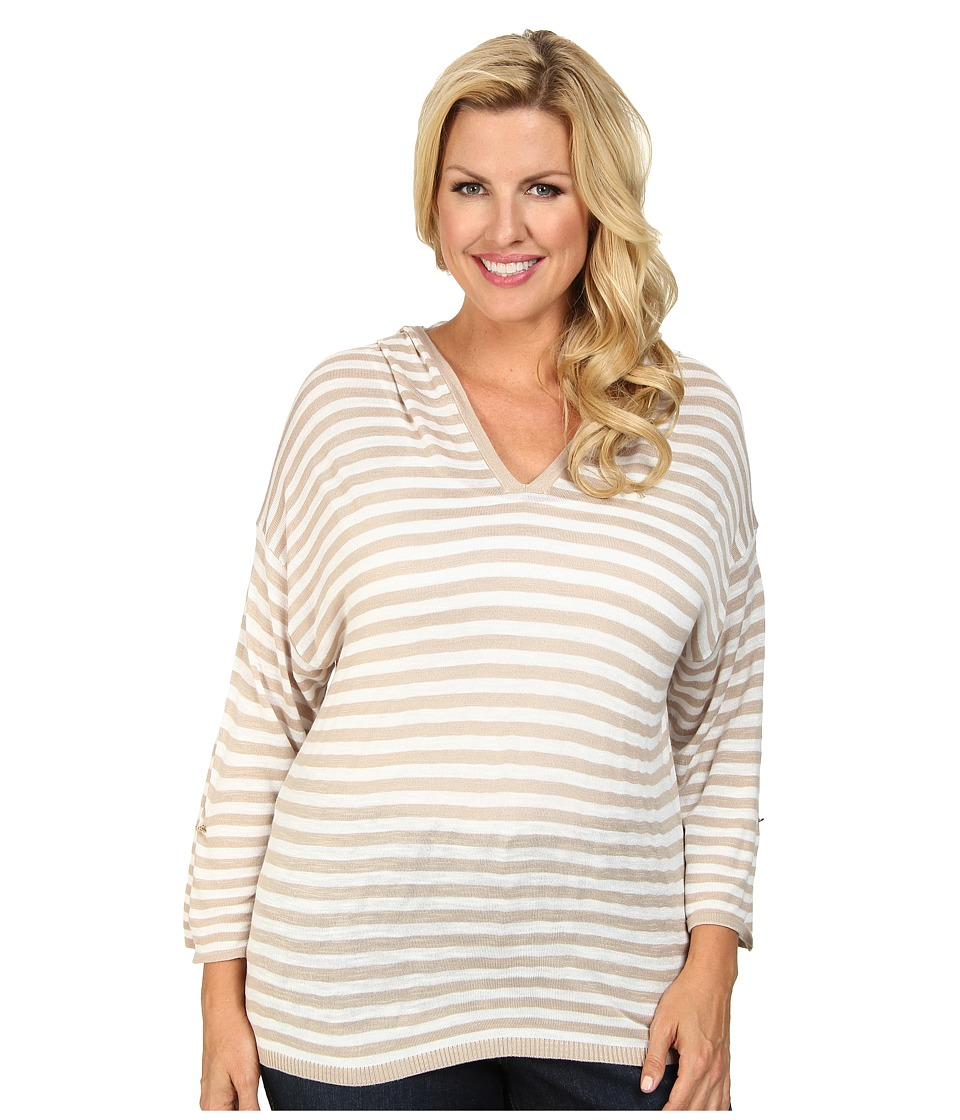Calvin Klein Plus - Plus Size Striped Hood Sweater (Beige/White) Women's Sweater plus size,  plus size fashion plus size appare