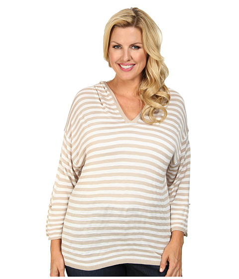 Calvin Klein Plus - Plus Size Striped Hood Sweater (Beige/White) Women's Sweater
