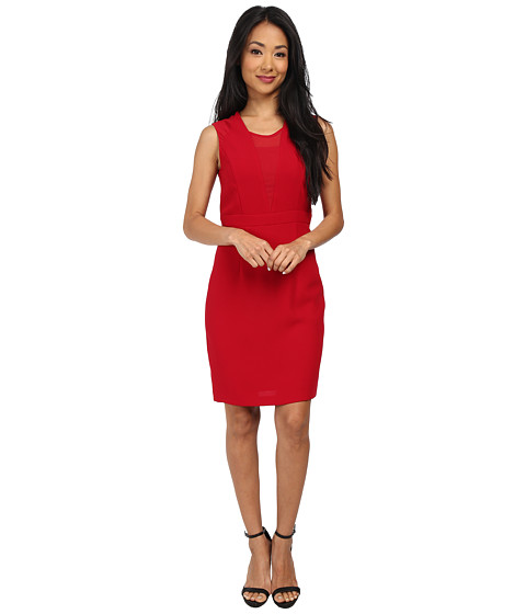 Marc New York by Andrew Marc - Sleeveless Sheer Inset Set Waist Dress MD4RN497 (Crimson) Women's Dress