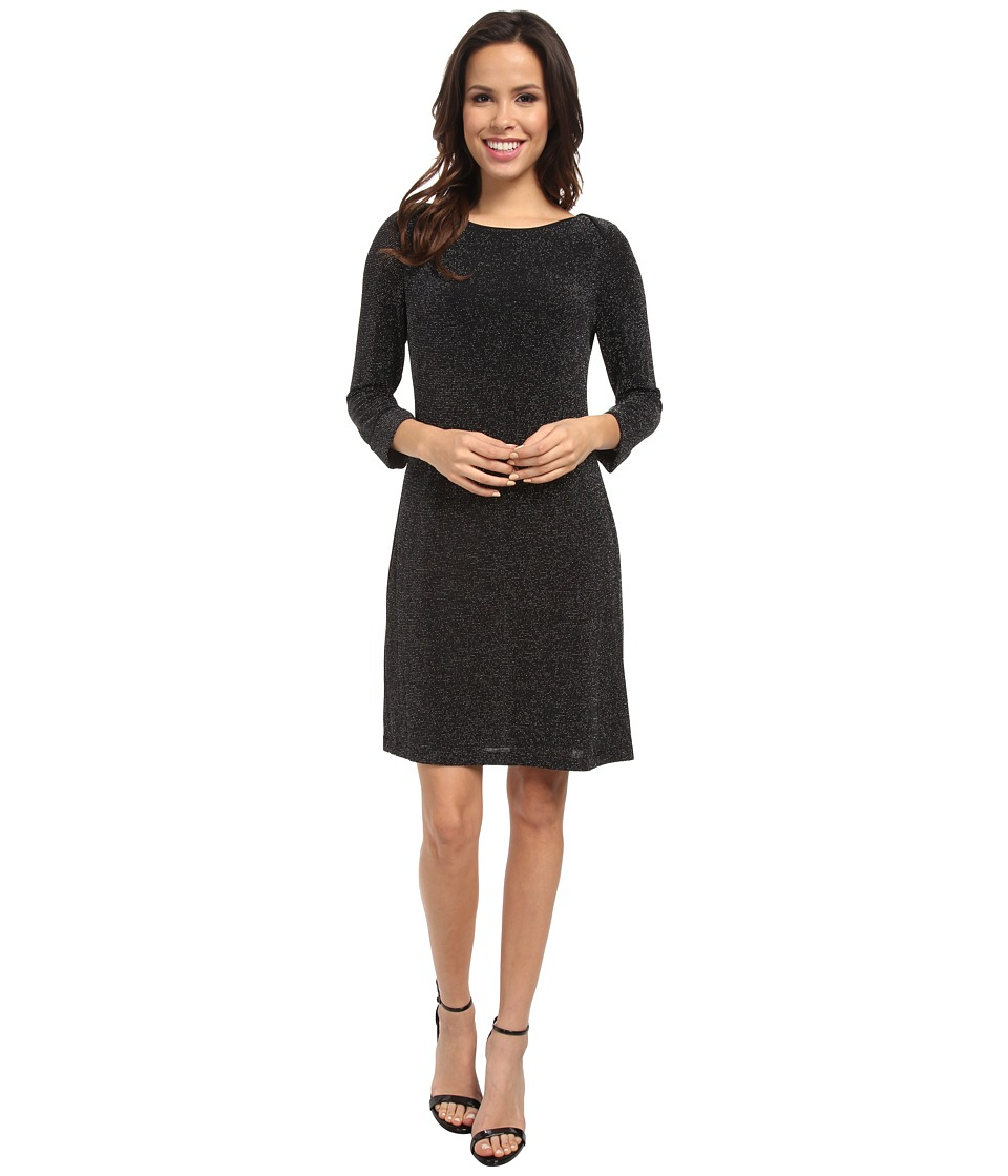 Marc New York by Andrew Marc - L/S Metallic Knit Shift Dress MD4NN853 (Black) Women