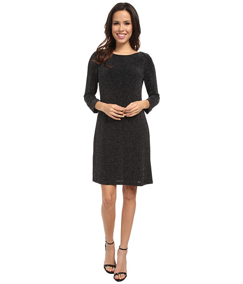 Marc New York by Andrew Marc - L/S Metallic Knit Shift Dress MD4NN853 (Black) Women's Dress