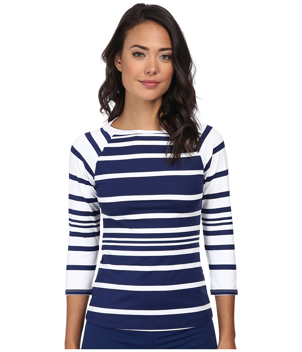 LAUREN by Ralph Lauren - Kaylee Stripe Boatneck Rashguard with 3/4 Sleeve (Bright Indigo) Women's Swimwear