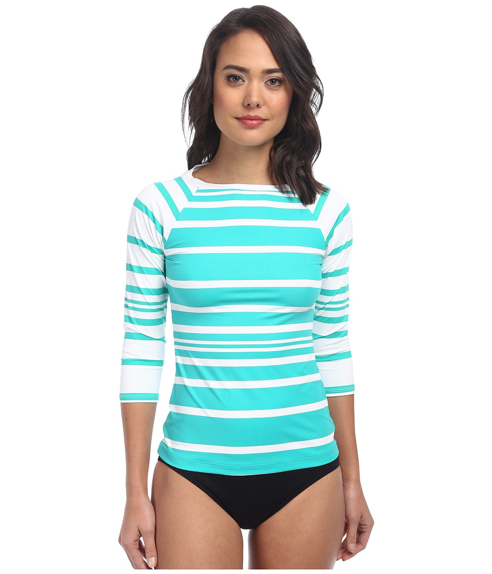 LAUREN by Ralph Lauren - Kaylee Stripe Boatneck Rashguard with 3/4 Sleeve (Lagoon) Women