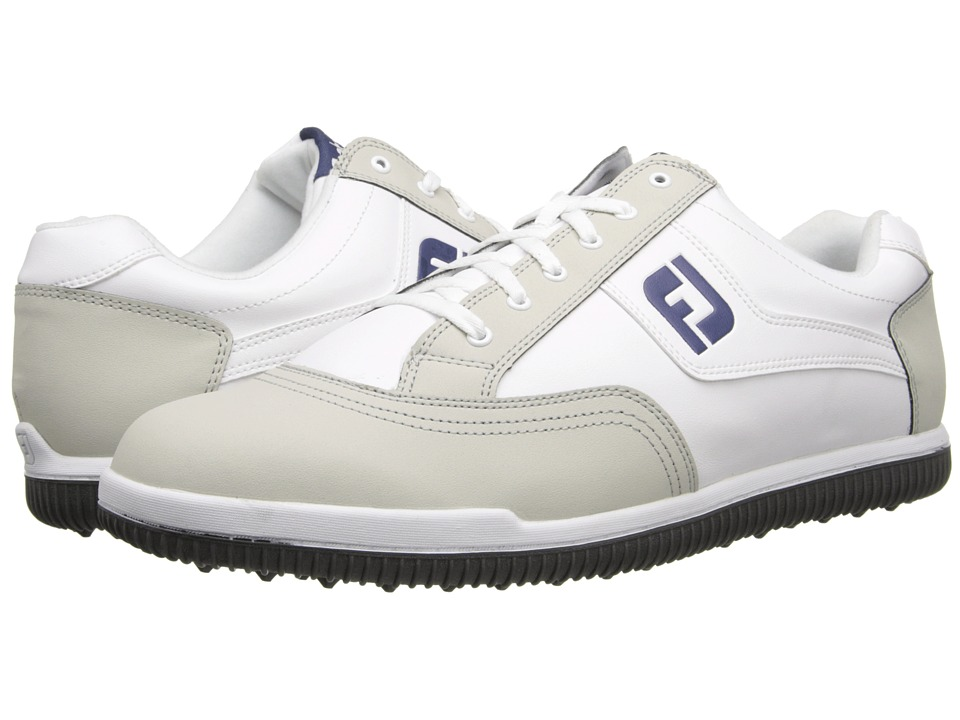 FootJoy - GreenJoys (White/Light Grey/Blue) Men's Golf Shoes