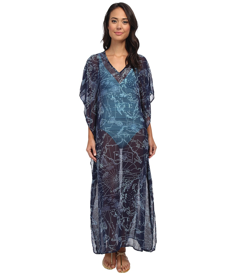 Tommy Bahama - Vintage Map Long Caftan Cover-Up (Mare/Swimming Pool) Women's Swimwear