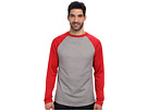 Reebok Baseball Long Sleeve Pullover Top (Excellent Red/Dark Grey Heather) Men's Long Sleeve Pullover