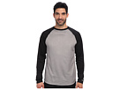 Reebok Baseball Long Sleeve Pullover Top (Black/Dark Grey Heather) Men's Long Sleeve Pullover