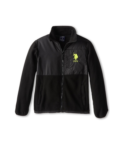 U.S. POLO ASSN. Kids - Polar Fleece Jacket with Ripstop Trim (Big Kids) (Black) Boy